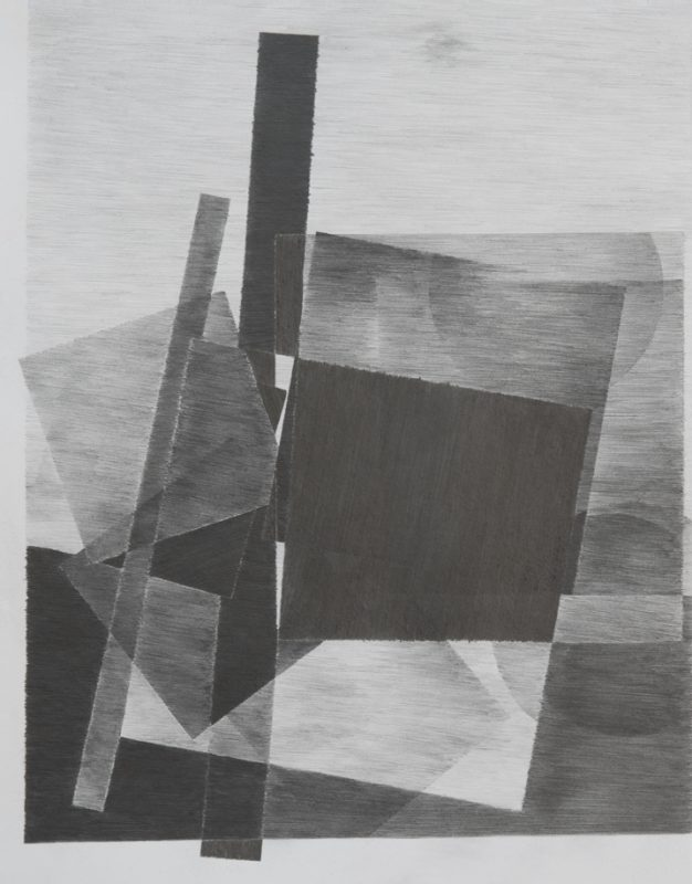 A drawing by the artist (a view overlooking a tower and two squares in constant motion), 2013