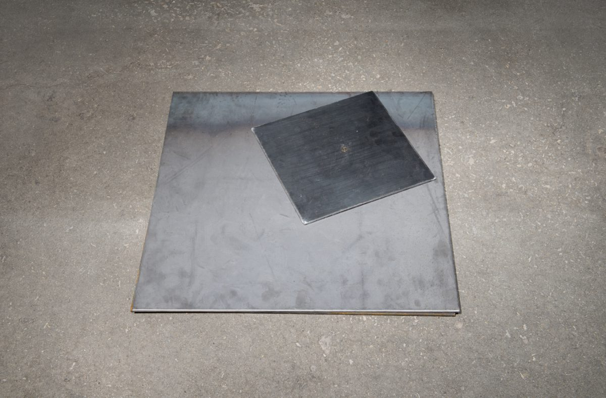 A steel plate from Japan dropped from the second floor of the studio 31 times (self portrait embodying the violence of men who preceded me), 2013