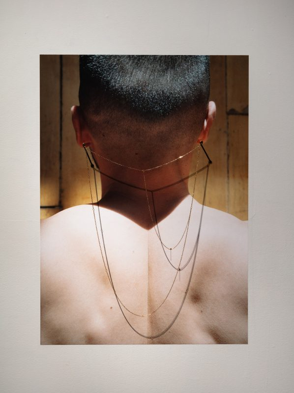 Steven Beckly, Equipoise, 2019, Vinyl photograph, gold chain, nails and pin