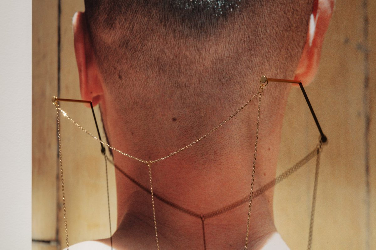 Steven Beckly, Equipoise, 2019 (detail), Vinyl photograph, gold chain, nails and pin