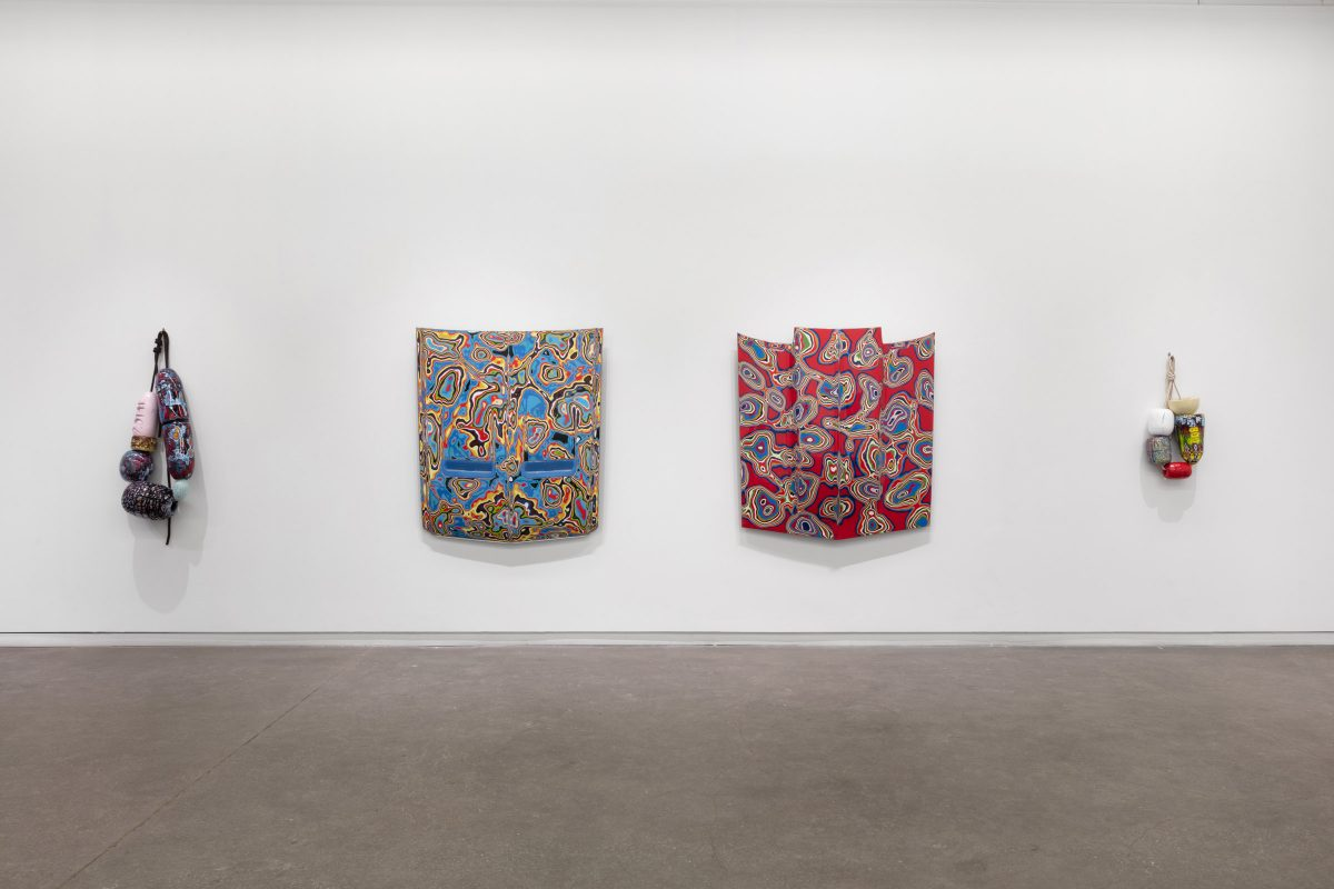 """Installation view of Douglas Coupland """"Fordite: Neominerology in the Anthropocene"""" at Daniel Faria Gallery, 2020"""